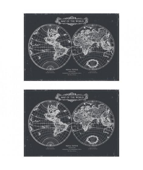 Lot de 2 sets de table Rockfeller - 100% Vinyle - 35 x 49,5 cm - Motif Map of the World - Finition Antique