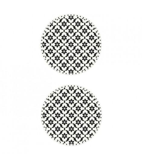 Lot de 2 sets de table Ceramic - 100% Vinyle - Ø38 cm - Motif Carreaux de Ciment Blanc et Noir