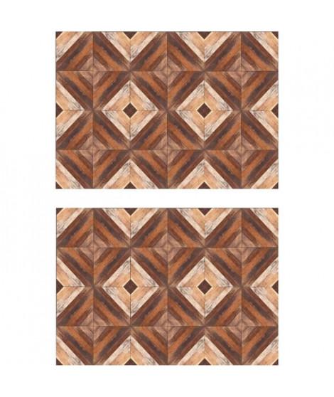 Lot de 2 sets de table Marketry - 100% Vinyle - 35 x 49,5 cm - Motif Bois - Marron