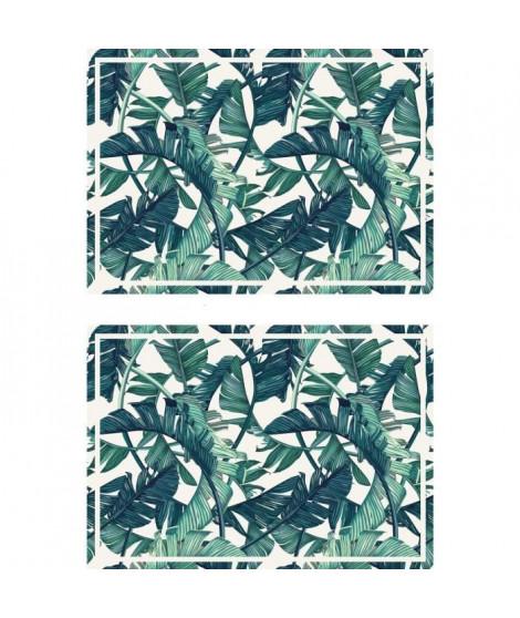 Lot de 2 sets de table Exotic - 100% Vinyle - 35 x 49,5 cm - Motif Jungle 2 - Vert et Blanc