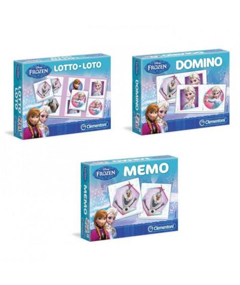 CLEMENTONI - Pack La Reine des Neiges - Lot Memo + Loto + Domino