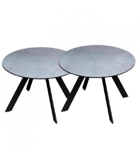Lot de 2 tables rondes base en métal avec plateau en gres - Gris
