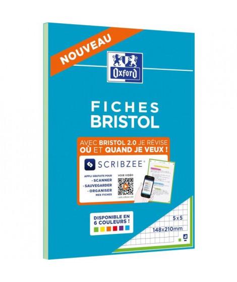 OXFORD Bloc fiche bristol 2.0 perforé - 14,8 x 21 cm - 30 fiches - 210g - 5x5 - Vert