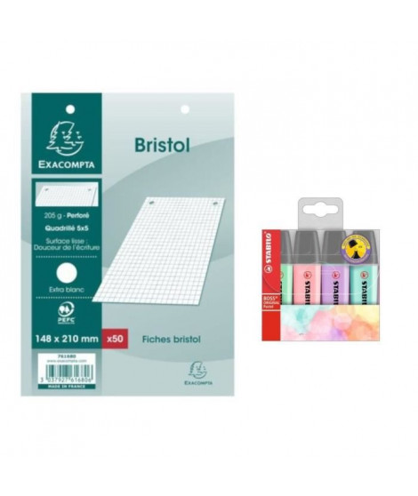 Pack 50 Fiches Bristol Blanches 15x21 cm + STABILO 4 Surligneurs Pastel