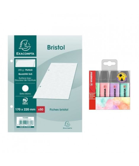 Pack 50 Fiches Bristol Blanches 17x22 cm + STABILO 4 Surligneurs Pastel