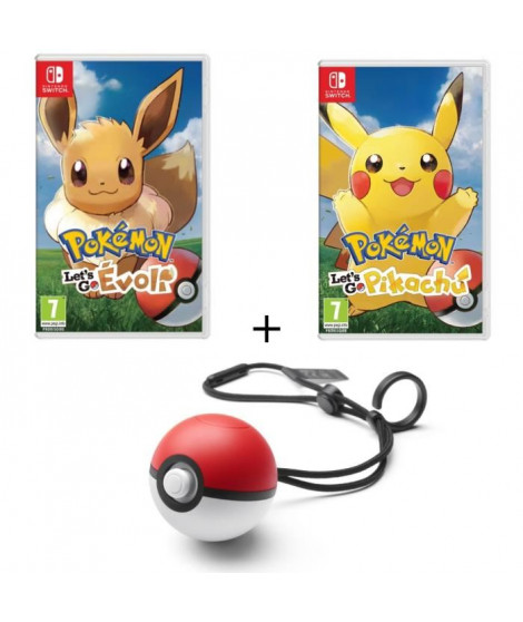 Pack 2 jeux Pokemon Let's Go Switch + Poke Ball Plus