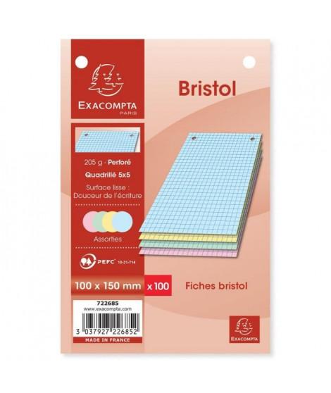 EXACOMPTA - 100 Fiches Bristol couleurs - 4 coloris assortis - Perforées - 10 x 15 - 5x5 - Papier P.E.F.C 205G