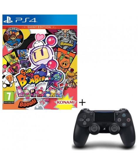 Pack Manette DualShock 4 Noire + Super Bomberman R: Shiny Edition Jeu PS4