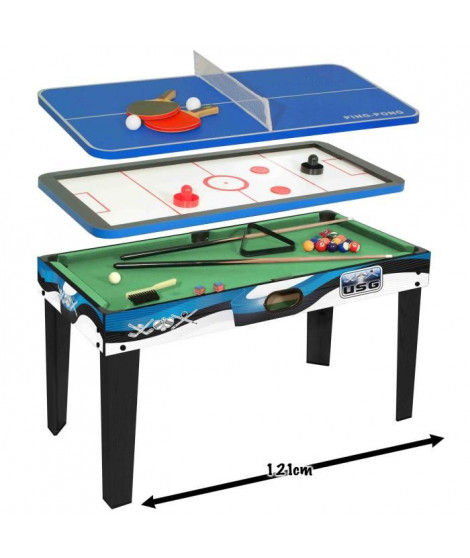 USG Table multi-jeux 3 en 1 (Billard américain + Air hockey + Ping-pong)