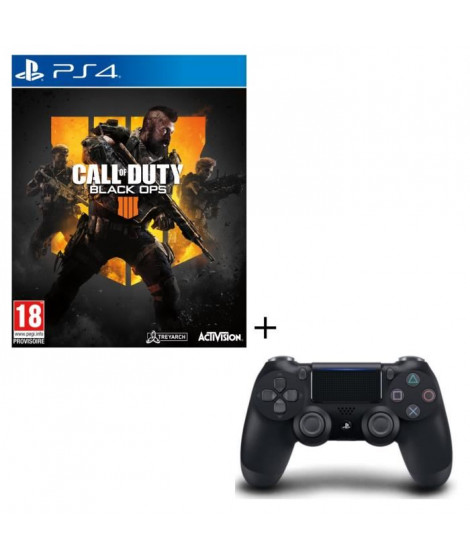 Pack Call of Duty Black OPS 4 Jeu PS4 + Manette PS4 DualShock 4 Noire V2