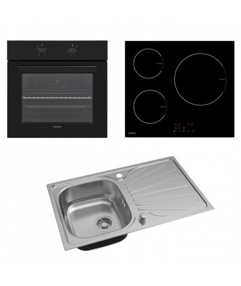 OCEANIC Pack Four multifonction 58 L - Table de cuisson 3 zones - Evier cusine inox 1 bac 80x50x17 cm