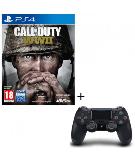 Call of Duty World War II Jeu PS4 + Manette DualShock 4 Noire V2