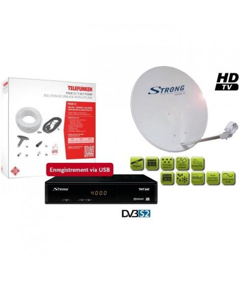 STRONG SRT 7404 Récepteur satellite HD + Parabole avec tete LNB + Pack câblage satellite 20m