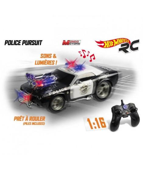 MONDO - Hot Wheels - Police Poursuite - Voiture radiocommandée - sons et lumieres - 1/16eme  - Garçon - A partir de 3 ans