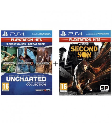 Pack 2 Jeux PS4 PlayStation Hits : Infamous Second Son + Uncharted Nathan Drake Collection