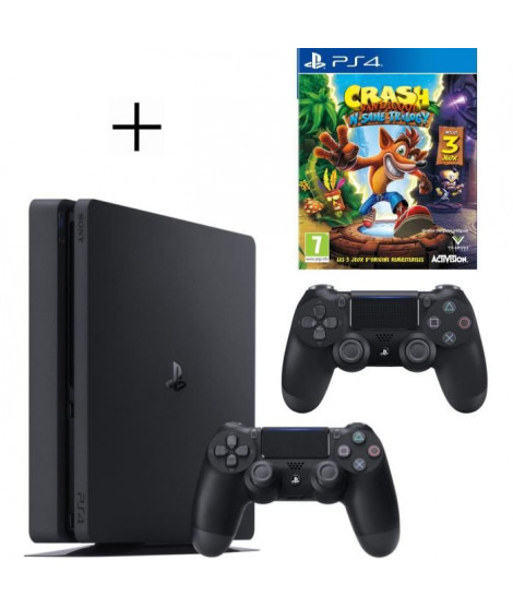 Pack PS4 500 Go Noire + 2eme manette DualShock 4 Noire + Voucher Fortnite + Crash Bandicoot N-SANE Trilogy Jeu PS4