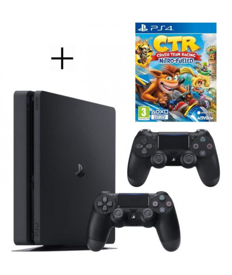 Pack PS4 500 Go noire + 2eme manette DualShock 4 Noire + Voucher Fortnite + Crash Team Racing Nitro Fueled Jeu PS4