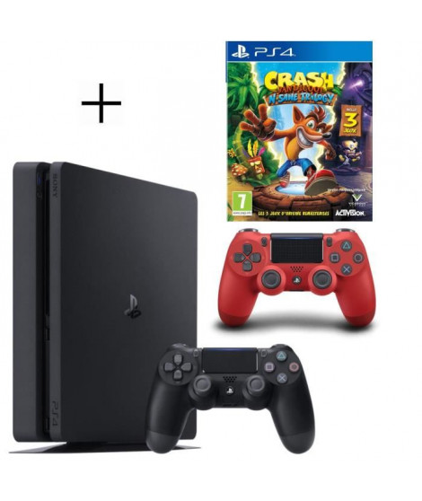 Pack PS4 500 Go noire + 2eme manette rouge offerte + Crash Bandicoot N-SANE Trilogy Jeu PS4
