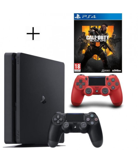 Pack PS4 500 Go Noire + Manette PS4 DualShock 4 Rouge V2 + Call of Duty Black OPS 4 Jeu PS4