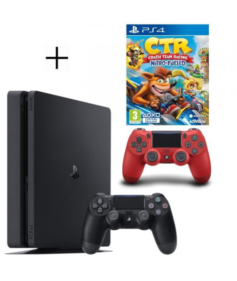 Pack PS4 500 Go noire + 2eme manette rouge offerte + Crash Team Racing Nitro Fueled Jeu PS4