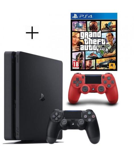 Pack PS4 500 Go Noire + Manette DualShock 4 Rouge PS4 V2 + GTA V Jeu PS4