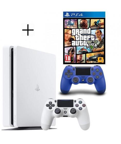 Pack PS4 500 Go Blanche + Manette PS4 DualShock 4 Bleue V2 + GTA V Jeu PS4