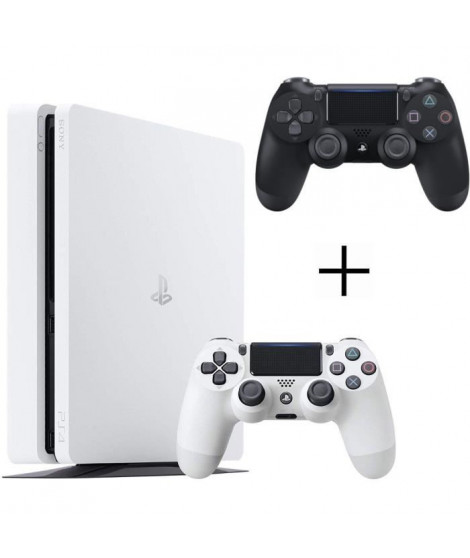 Pack PS4 500 Go Blanche + 2eme manette DualShock 4 Noire + Voucher Fortnite