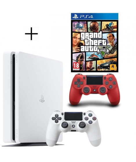Pack PS4 500 Go Blanche + Manette PS4 DualShock 4 Rouge V2 + GTA V