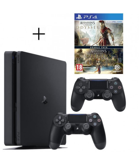 Pack Playstation : PS4 500Go + Manette PS4 + Voucher Fortnite + Assassin's Creed Odyssey + Assassin's Creed Origins