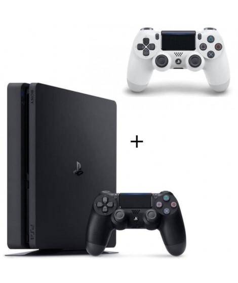 Pack PS4 500 Go Noire +  2eme Manette DualShock 4 V2 Glacier White