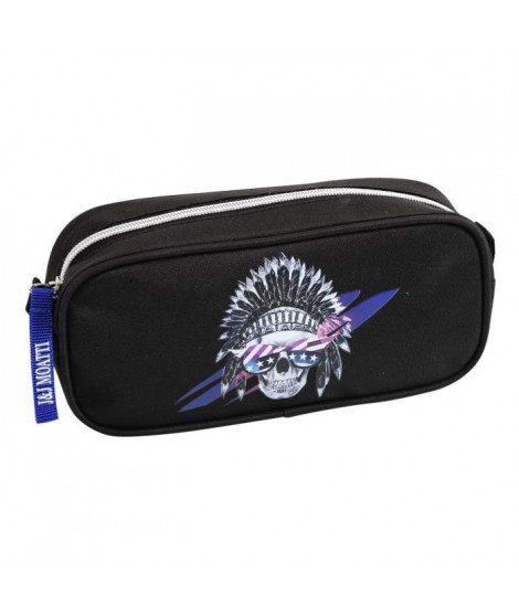 SKULLTISIME Trousse rectangle - 22 x 10 x 5,5 cm - Polyester Sérigraphie Noir