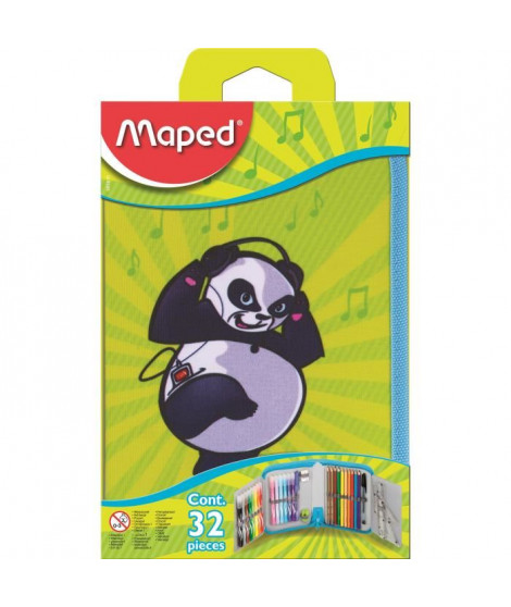 MAPED Trousse Scolaire Garnie 32 Pieces Panda