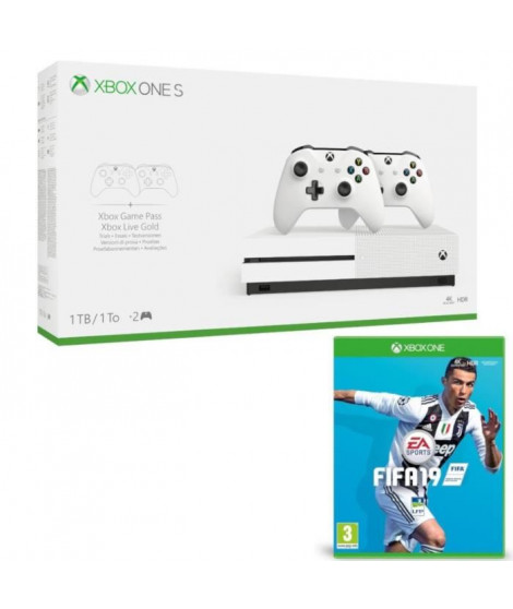 Xbox One S 1 To + 2 manettes + Fifa 19