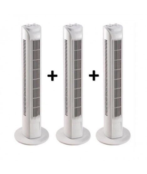 OCEANIC Lot de 3 Ventilateurs colonne - 45 W - 76 cm - 3 vitesses - Oscillant - Minuterie