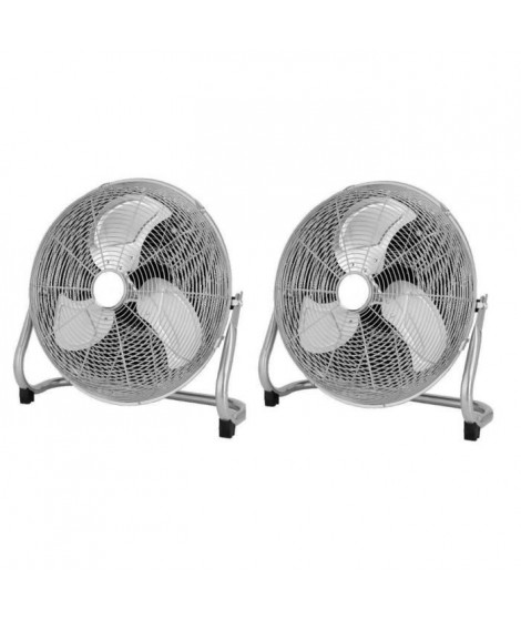 OCEANIC Lot de 2 ventilateurs industriels de sol - Brasseur d'air 120 W - 3 vitesses - Diametre 45 cm