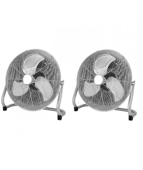 OCEANIC Lot de 2 ventilateurs industriels de sol - Brasseur d'air 70 W - 3 vitesses - Diametre 35 cm
