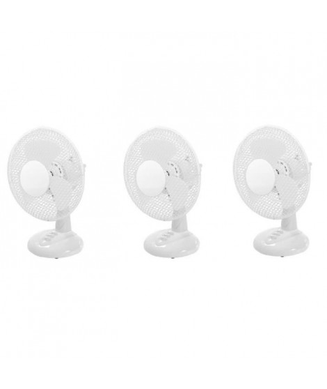 OCEANIC Lot de 3 ventilateurs de table - 30 watts - Diametre 23 cm - 2 vitesses - Oscillant
