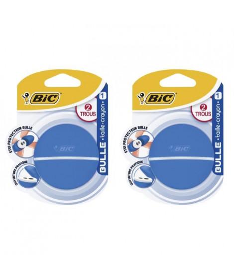 Lot de 3 BIC Bulle Taille-Crayons 2 Trous avec Etui Protecteur - Blister de 1
