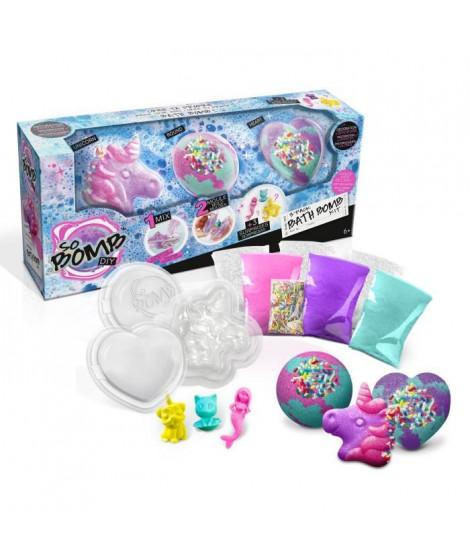 CANAL TOYS - SO BOMB DIY - Pack de 3 Bath Bomb - Licorne, Coeur & Diamant - Fabrique tes bombes de bain effervescentes !