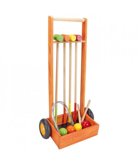JEUJURA Jeu de croquet en bois - 4 joueurs - Chariot en bois