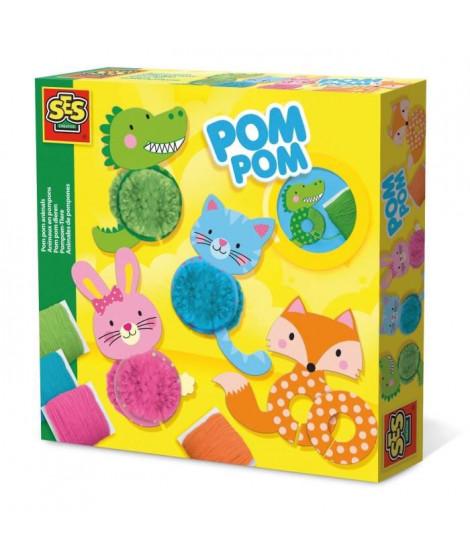 SES CREATIVE Animaux en pompons - Fils acryliques - Verts, bleus, orange et rose