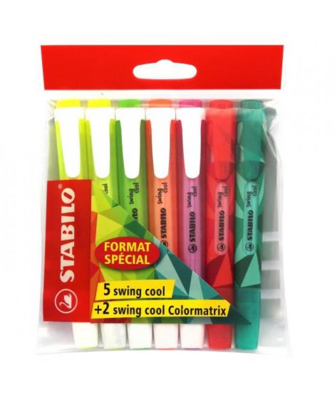 STABILO  x 5 surligneurs Ecopack Swing Cool + 2 Swing Cool Colormatrix