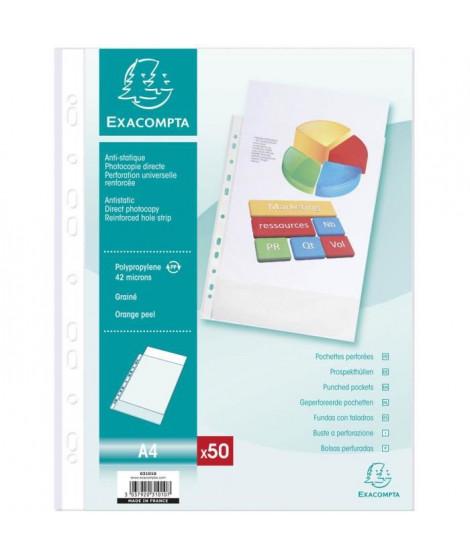 EXACOMPTA - 50 pochettes perforées - 21 x 29,7 - Polypropylene grainé incolore 42µ - 11 trous - Sous film