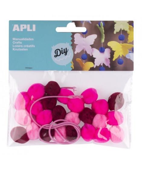 APLI Sachet de 25 pompons - Rose + cordon