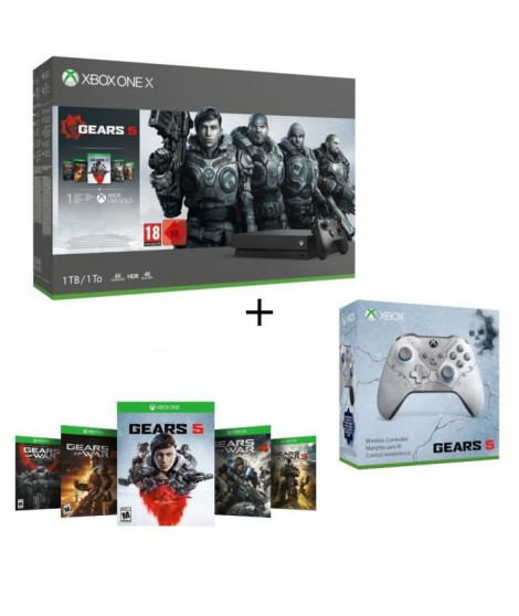Xbox One X 1 To + 5 Jeux Gears of War + 1 mois d'essai au Xbox Live Gold et Game Pass + Manette Xbox Spéciale Gears 5