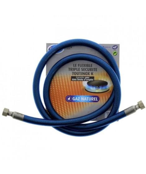 Tuyau flexible pour gaz naturel triple sécurité Vissinox a embouts mécaniques - 2 m