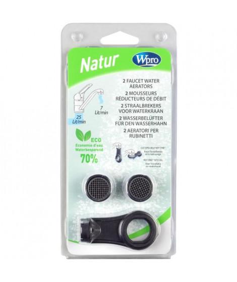 WPRO AER100 Kit 2 mousseurs reducteurs de débit + 1 clé - réduction 7litres/min pour 3bars, pour robinets femelles,