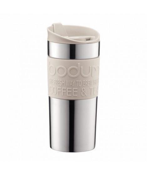 BODUM - TRAVEL MUG - Mug de voyage isotherme en inox double paroi - Blanc creme - couvercle a clapet - 0.35 L
