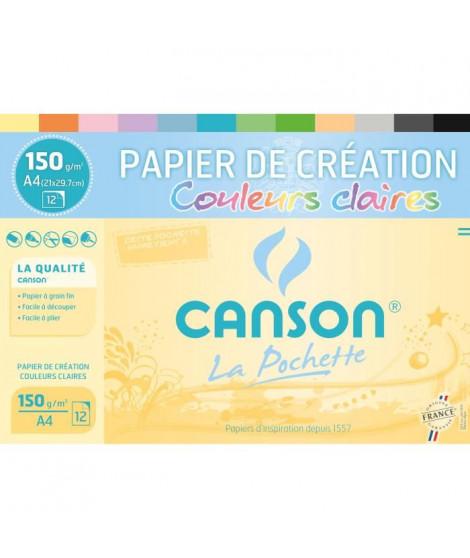 CANSON Pochette papier de création 12 feuilles A4 - 150 g - Couleurs claires