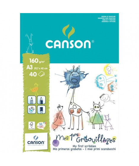 CANSON Bloc papier a dessin Mes 1ers Gribouillages 40 feuilles A3 - 160 g